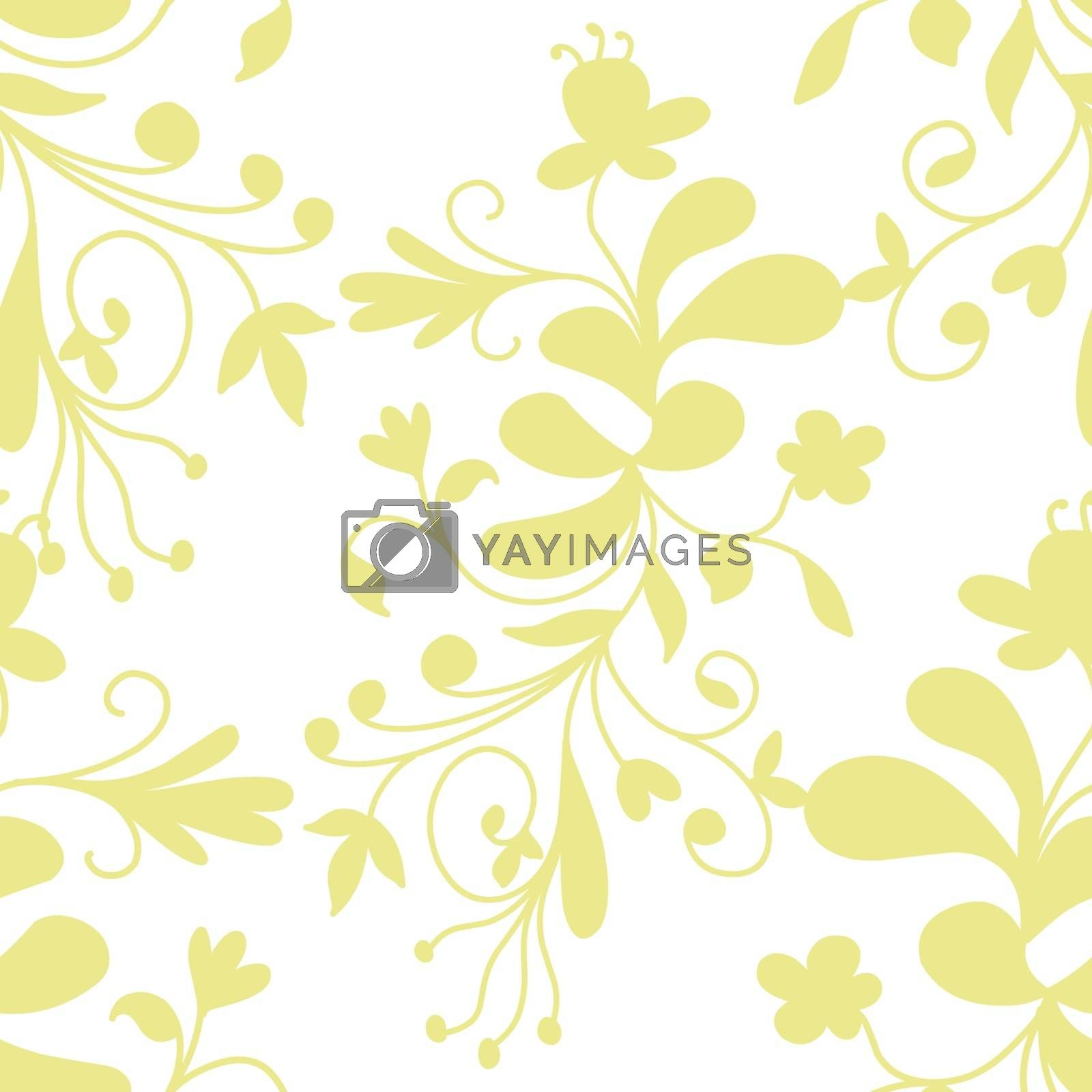 Stock Illustration Abstract Floral Seamless Pattern on a White Background
