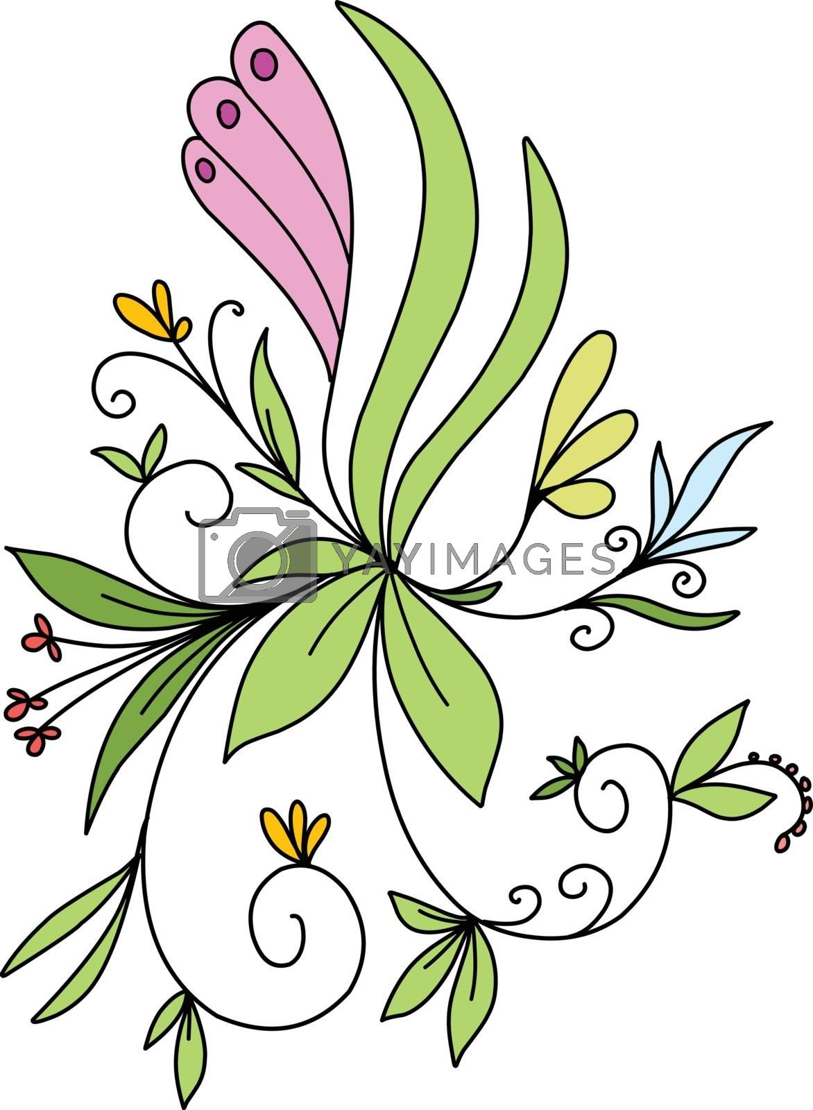 Stock Illustration Abstract Floral Pattern on a White Background