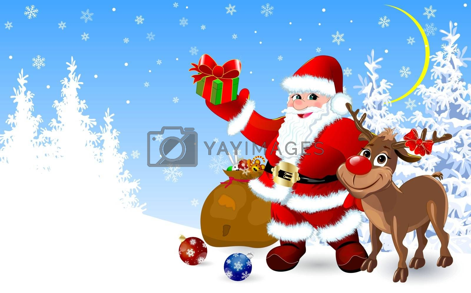 Santa Claus and a reindeer in the winter forest with gifts for Christmas.