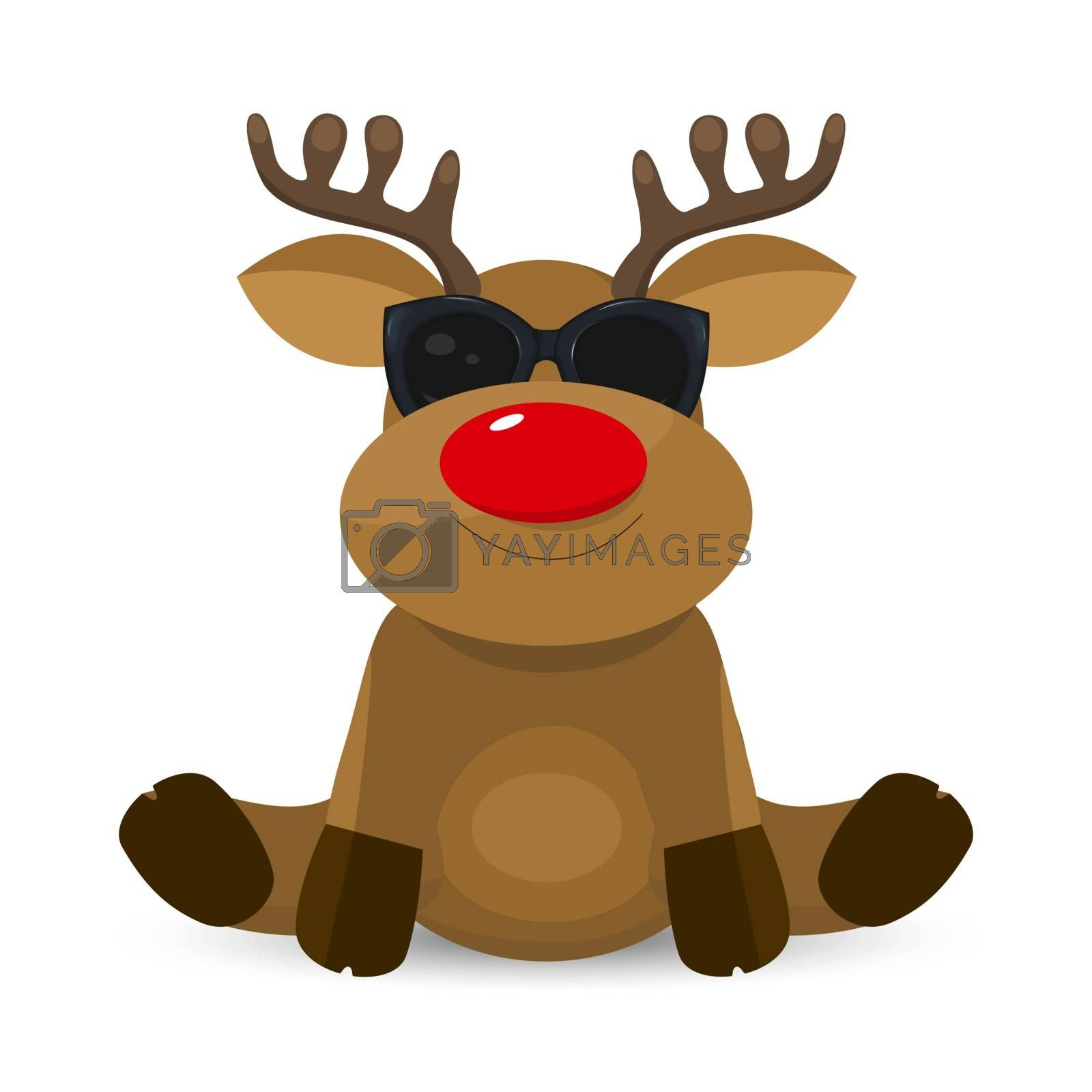 Little deer with a red nose on a white background. Reindeer in black glasses.