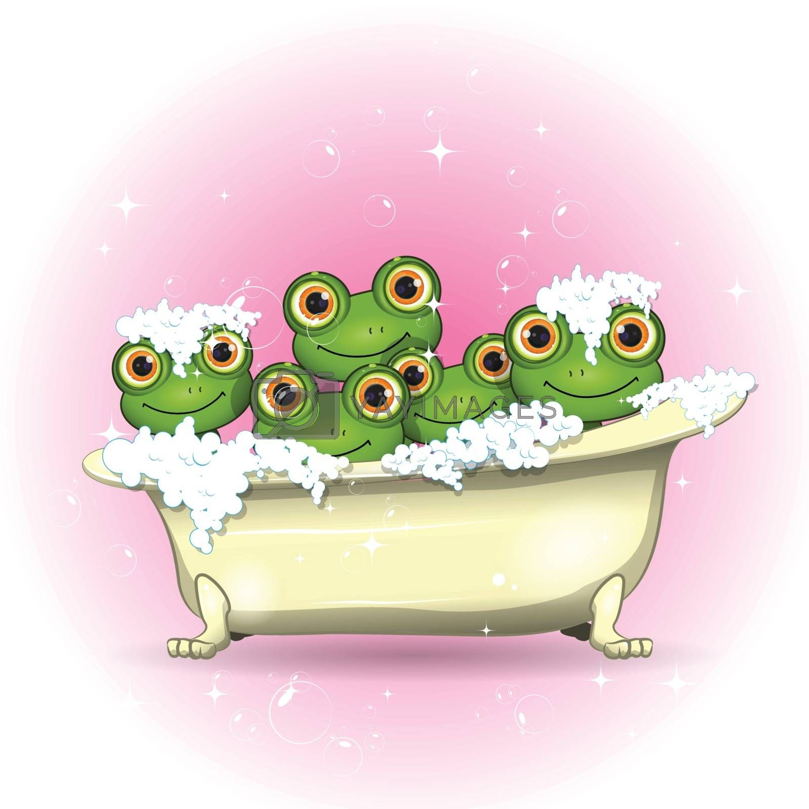 Stock Illustration Five Merry Frogs in Bath