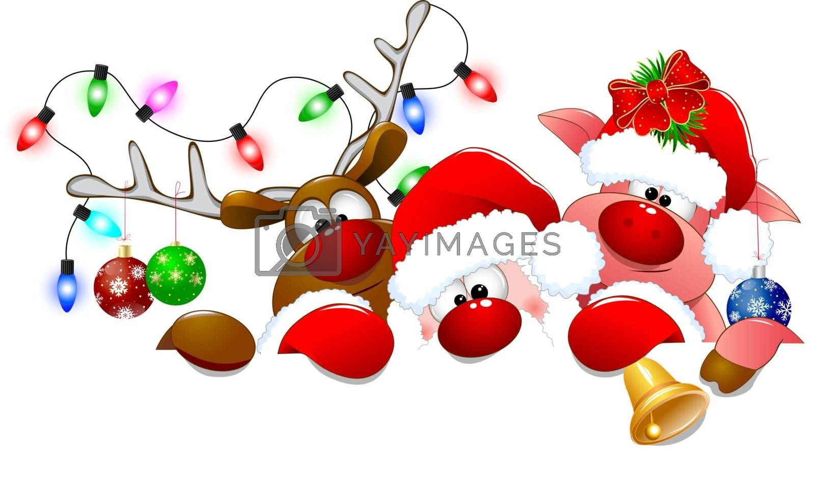 Santa Claus, deer and piglet with Christmas decorations on a white background.