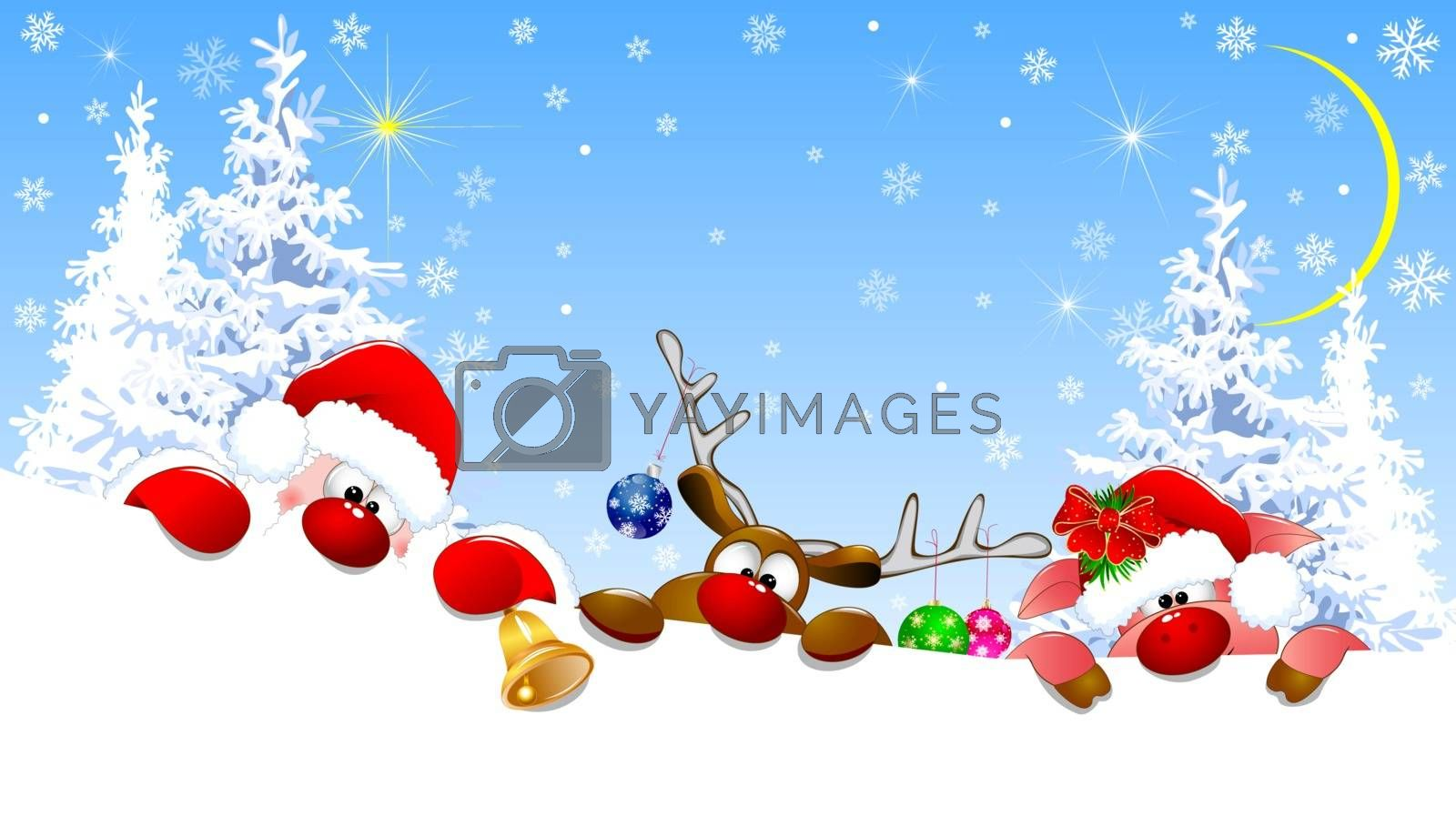 Santa Claus, deer and piglet with Christmas decorations in a winter forest. On the eve of Christmas.