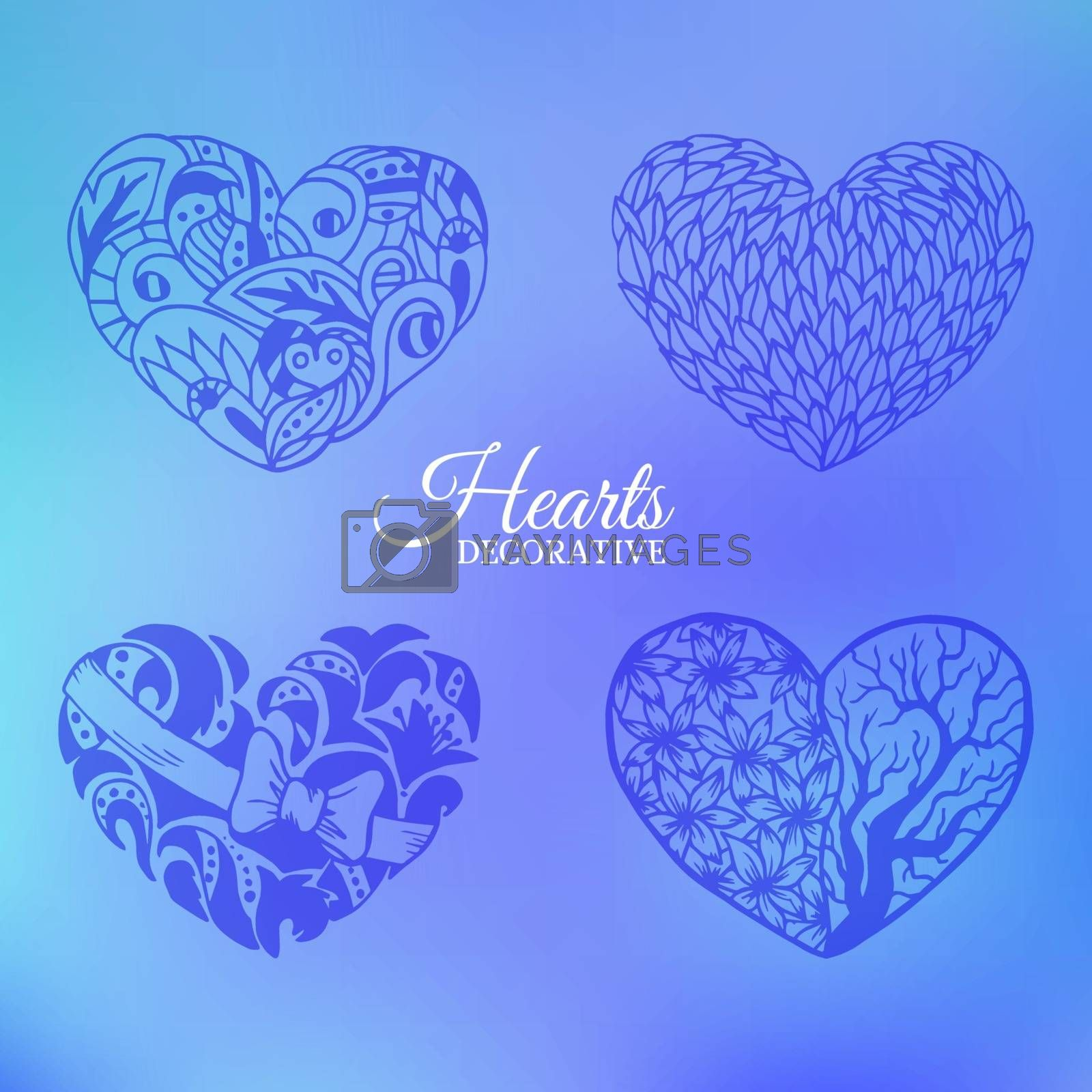 ornamental decorative heart set on blurred background concept. Vector template for web and mobile design.