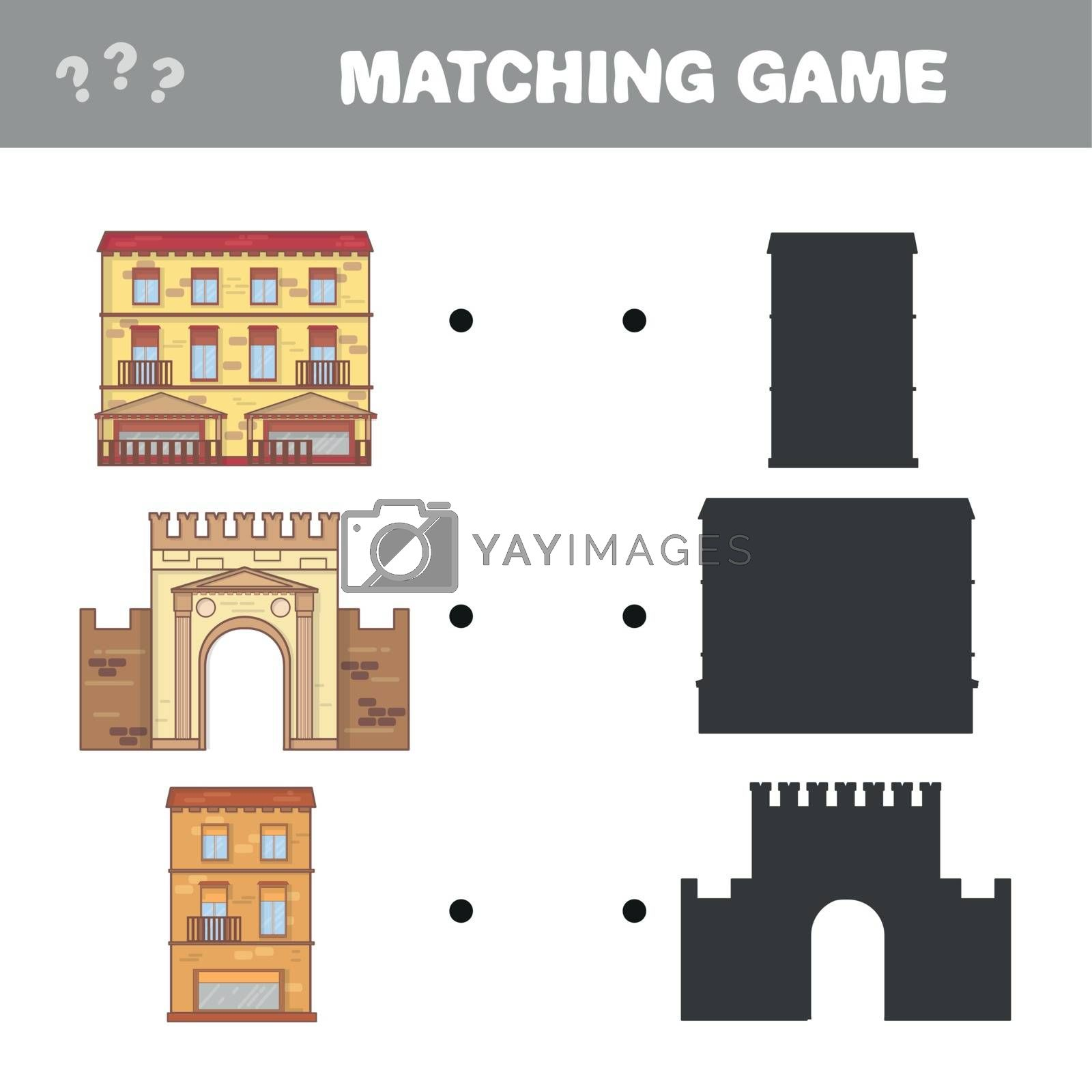 Find the correct shadow. Educational matching game for children. Cartoon vector illustration