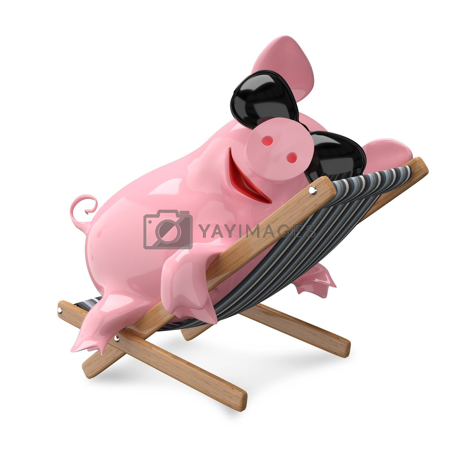 3D Illustration Pig on a Deck Chair on White Background