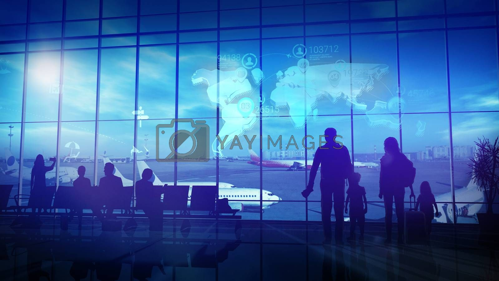 Silhouettes of the family stand in front of a large window in the airport departure hall before a big trip.