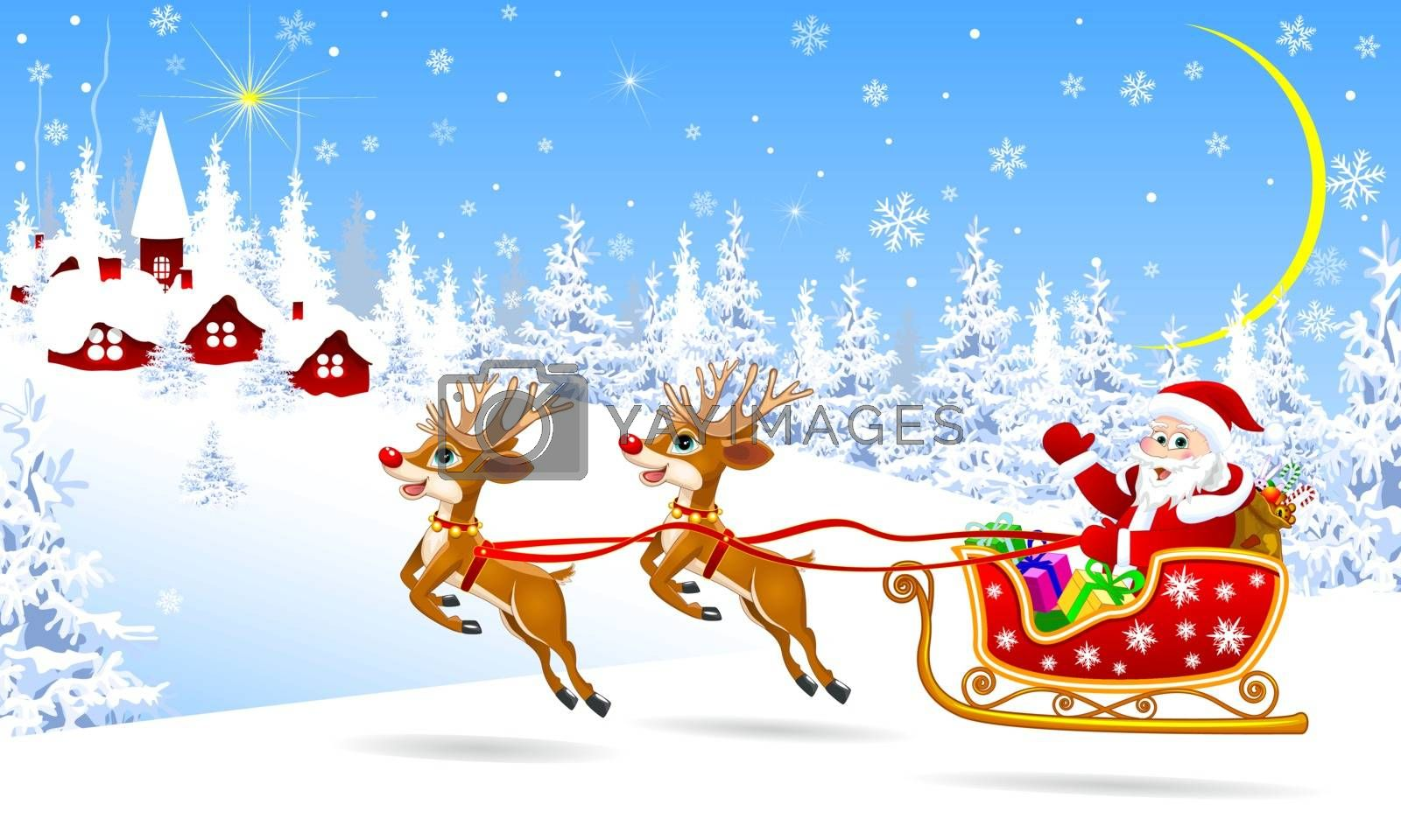 Santa and deer on background village and winter forest. Santa Claus on his sleigh, harnessed by deer. Santa Claus with gifts on his sleigh.