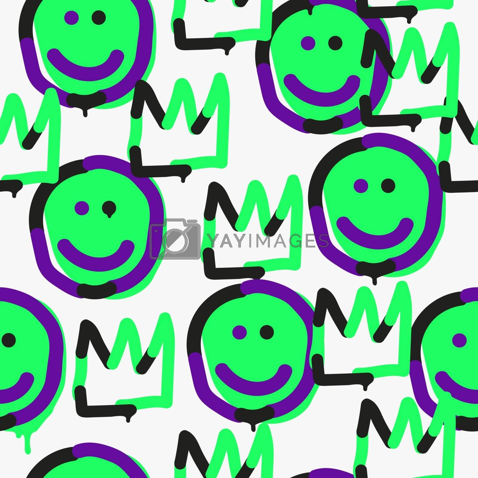 Vector emoji crown seamless pattern. Trendy endless unique wallpaper with design elements