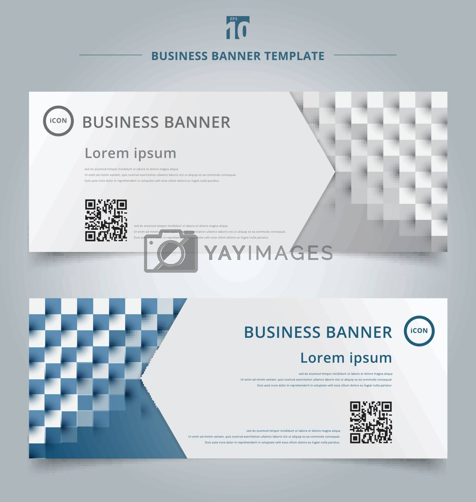 Set of banner web template geometric horizontal with the 3D effect for business style for the header of the site and advertising technology concept. Vector illustration