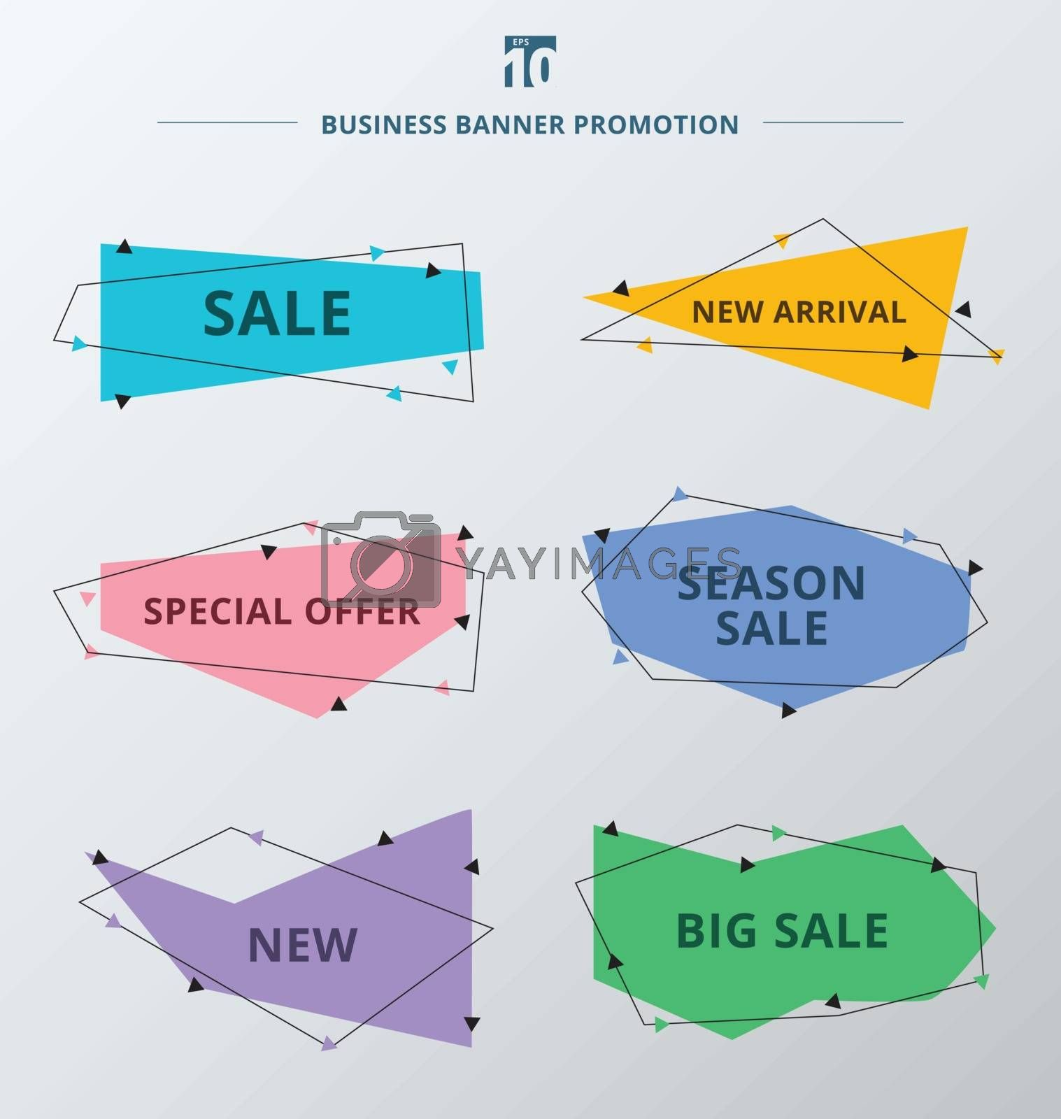 Set of sale promotion and discount offer ribbons or banner tags. Trendy flat geometric label. Vector illustartion