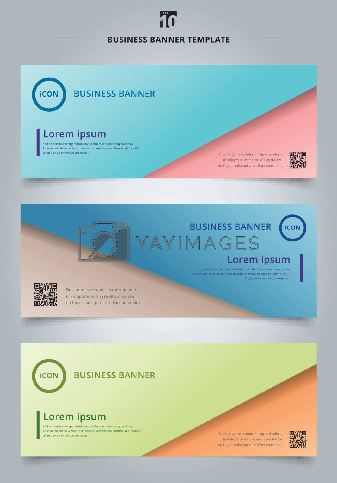 Set of banner web abstract presentation template paper sheet overlap blue and pink pastel color background. Vector illustration