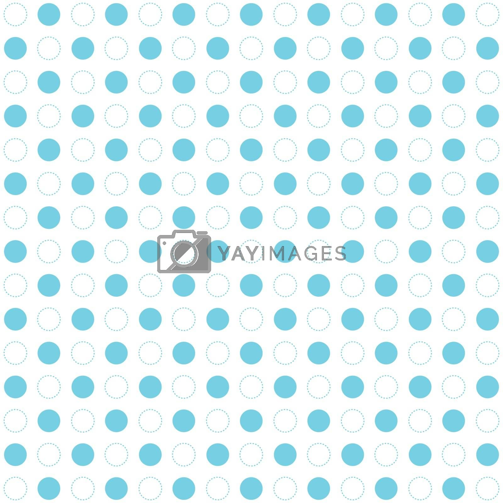 Blue polka dots seamless pattern on white background. Retro circles geometric dashed lines. Vector illustration