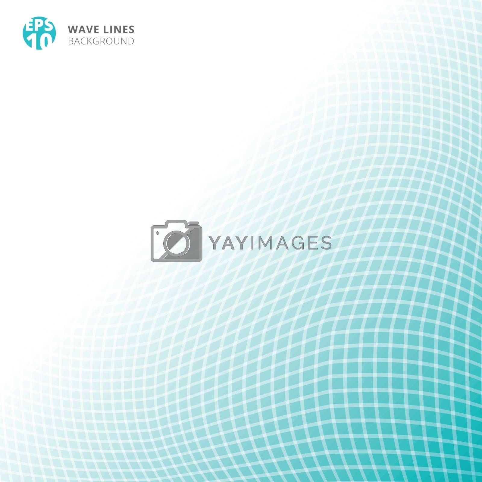 Abstract white lines wave weave on blue background with copy space. Vector illustration
