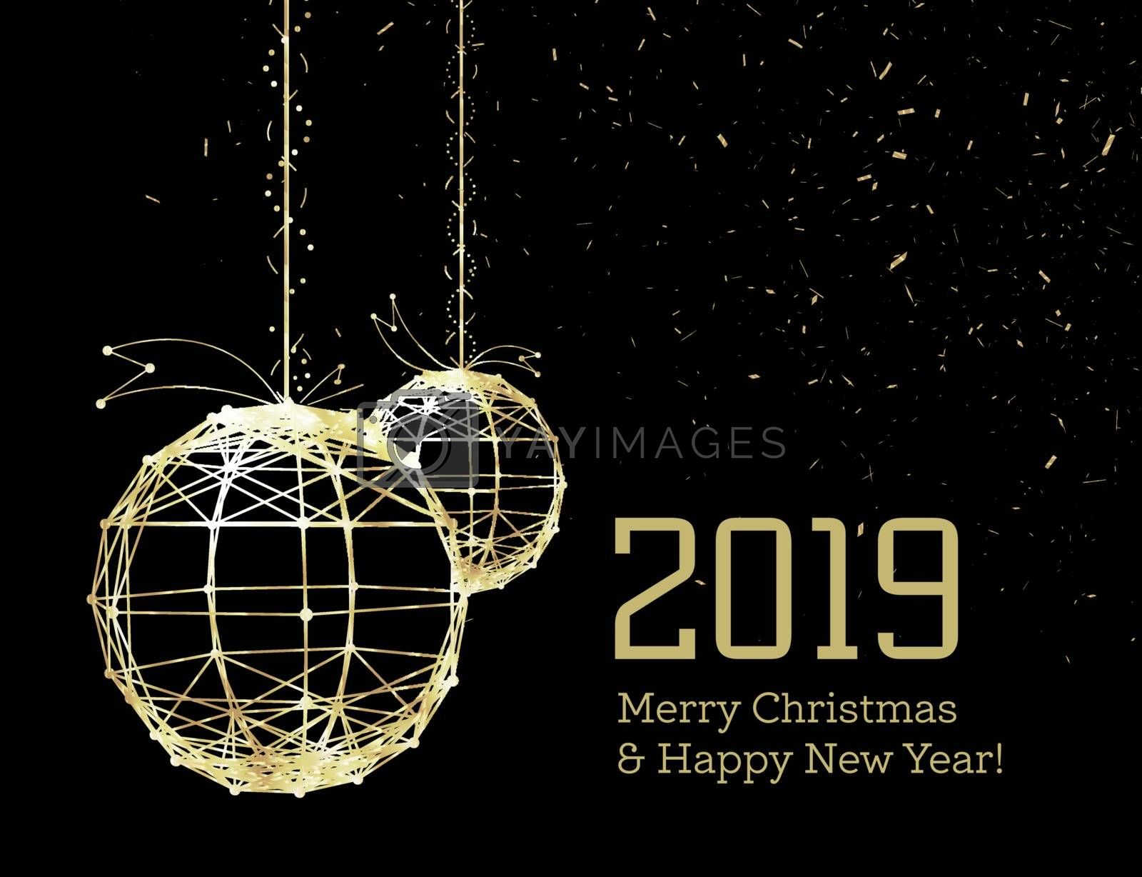 New Year's Christmas balls, on luminous golden ribbons, in the style of art deco. Geometric golden spheres, in the form of points connected by lines with glitters. Gold on dark style. Vector by sermax55