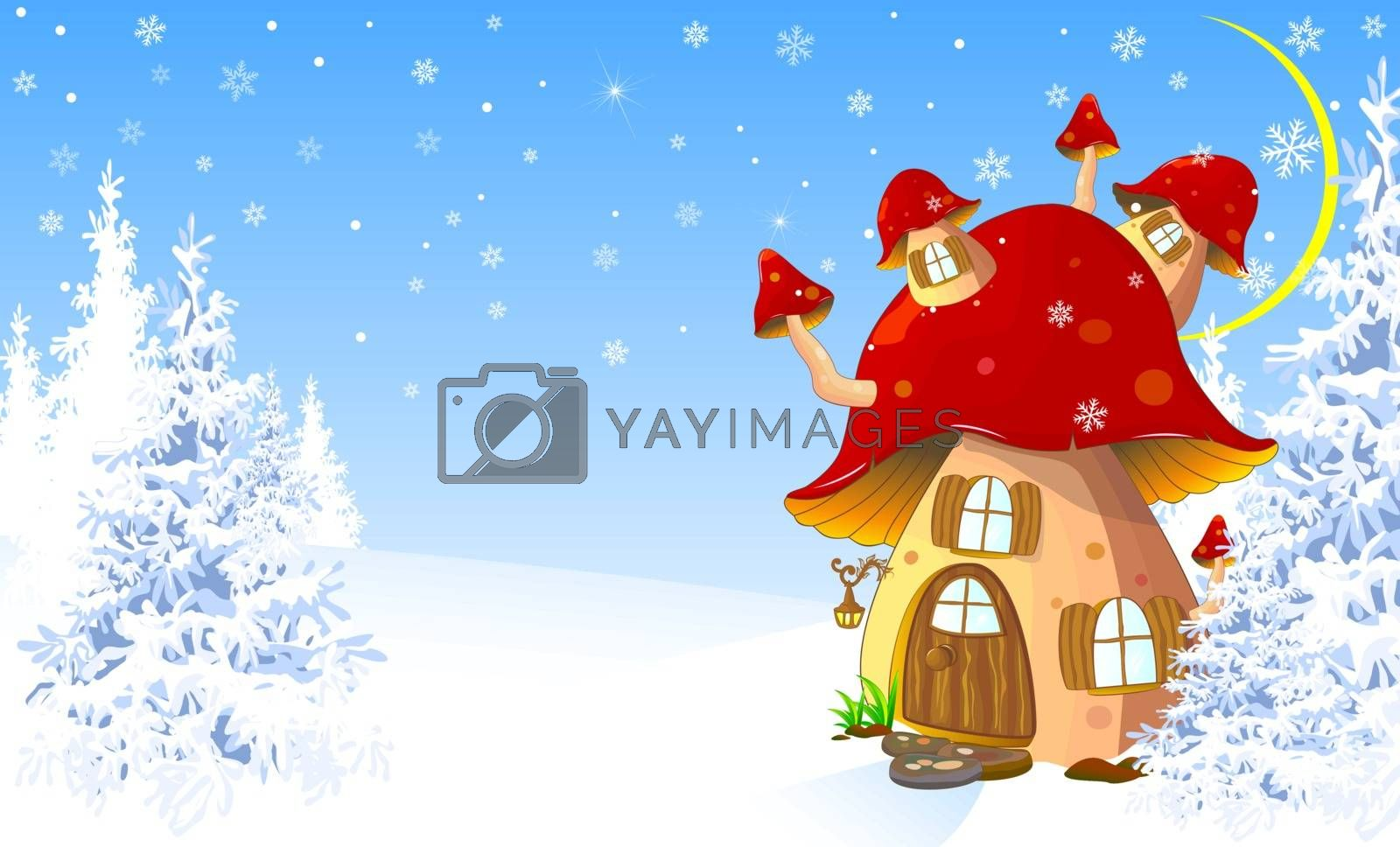 Cartoon mushroom house in the winter snow-covered forest.