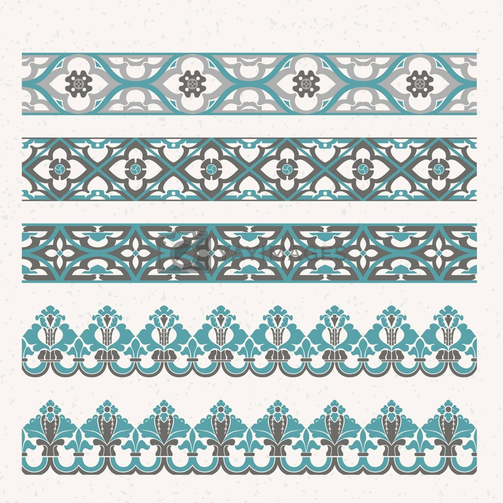 Decorative border with floral elements