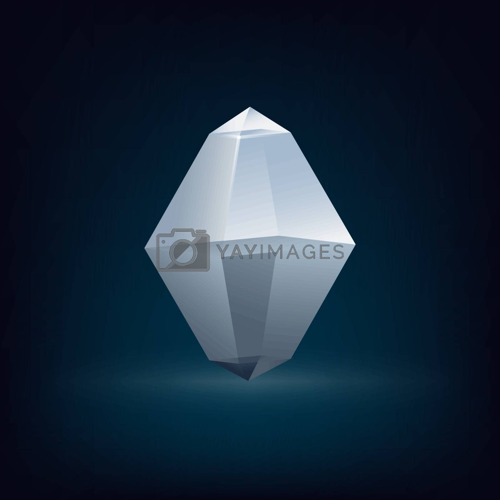 Abstract glass crystal low poly design set. Vector illustration.