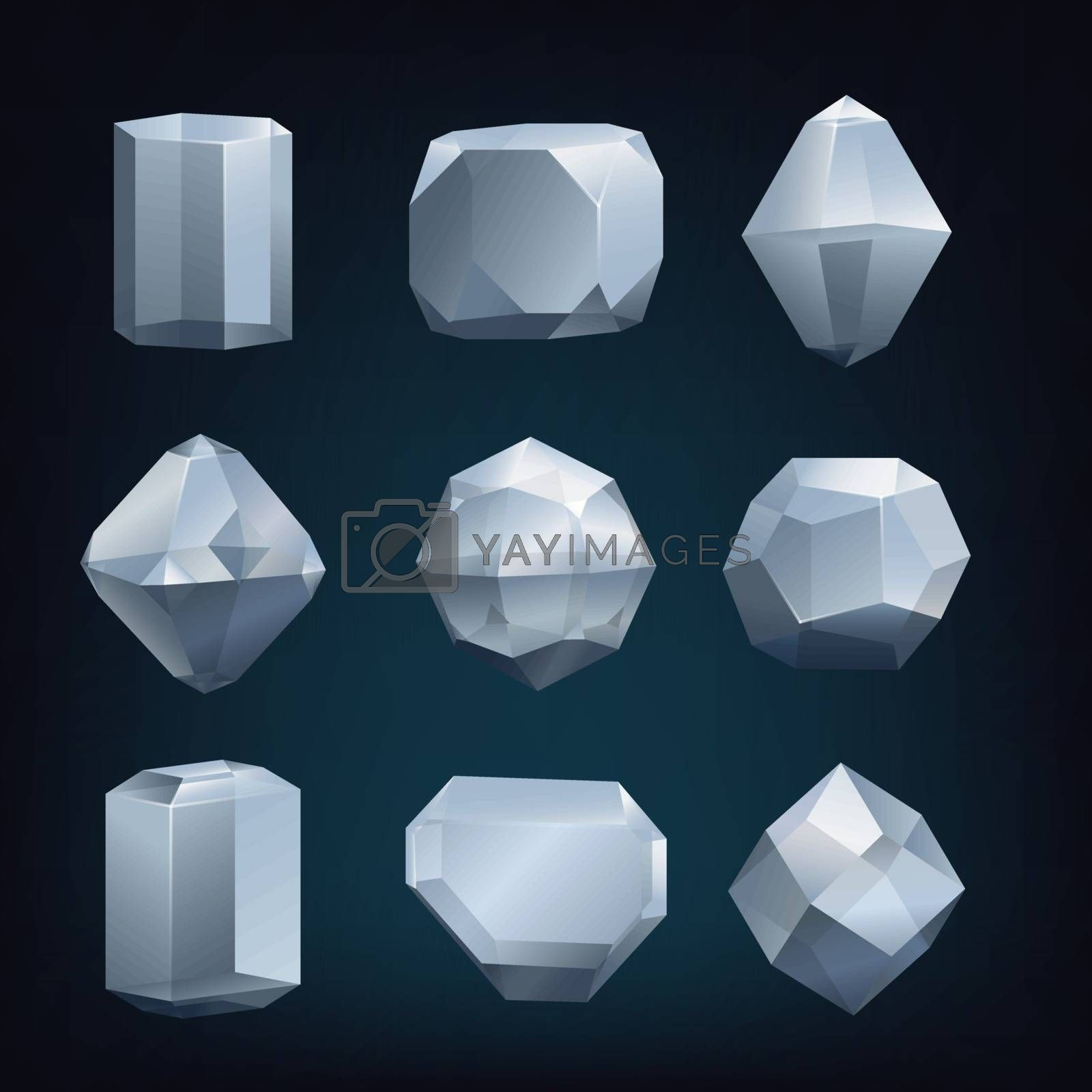 Set abstract glass crystals low poly design set. Vector illustration.