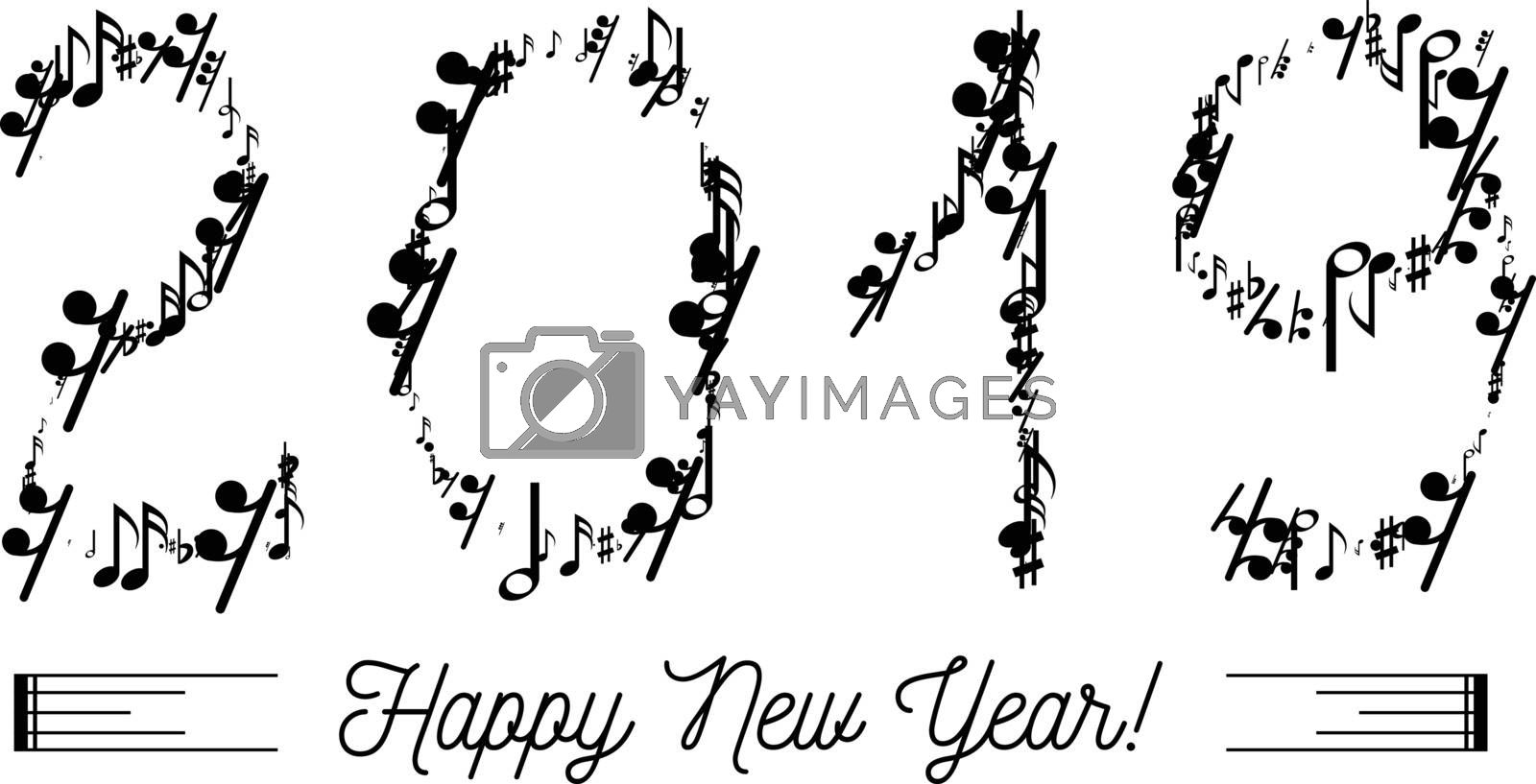 Royalty free image of Musical notes in the form of numbers year 2019 by sermax55