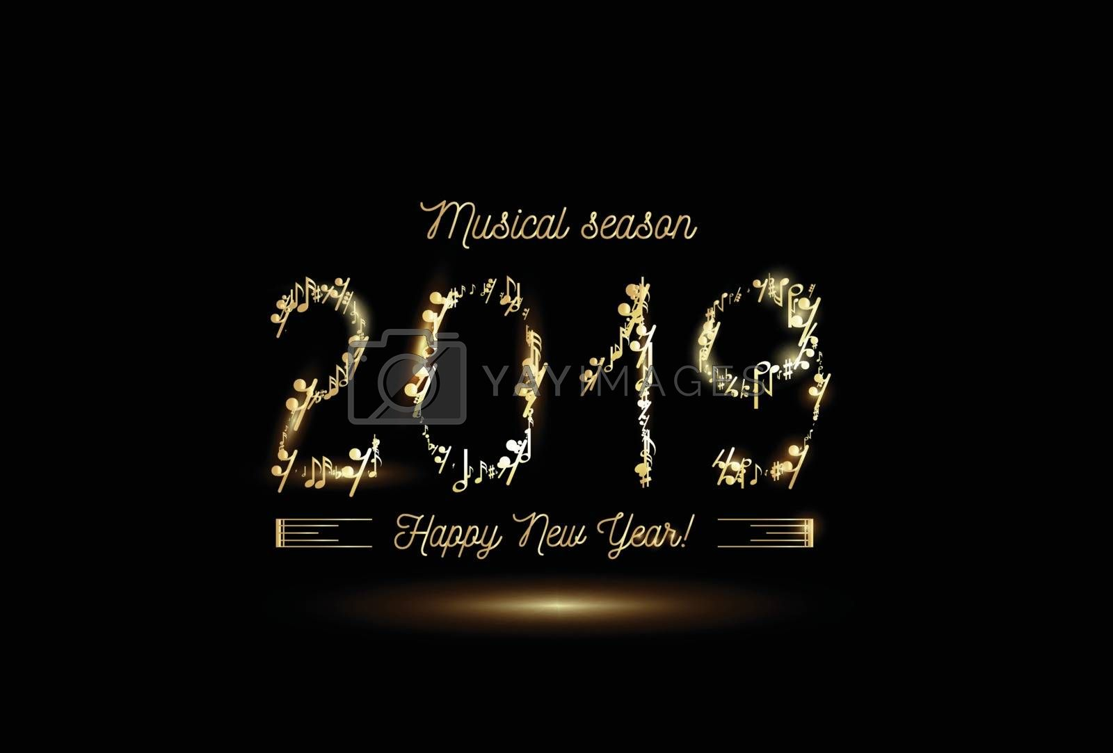 Golden musical notes in the form of numbers year 2019. Vector gold on black style by sermax55