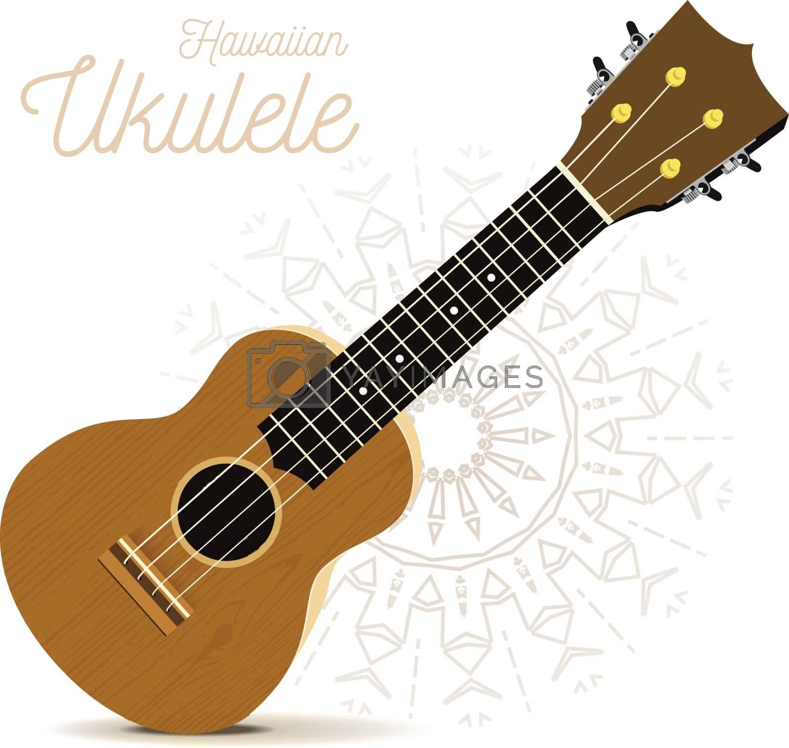 Ukulele - Hawaiian musical instrument. Vector illustration on white by sermax55