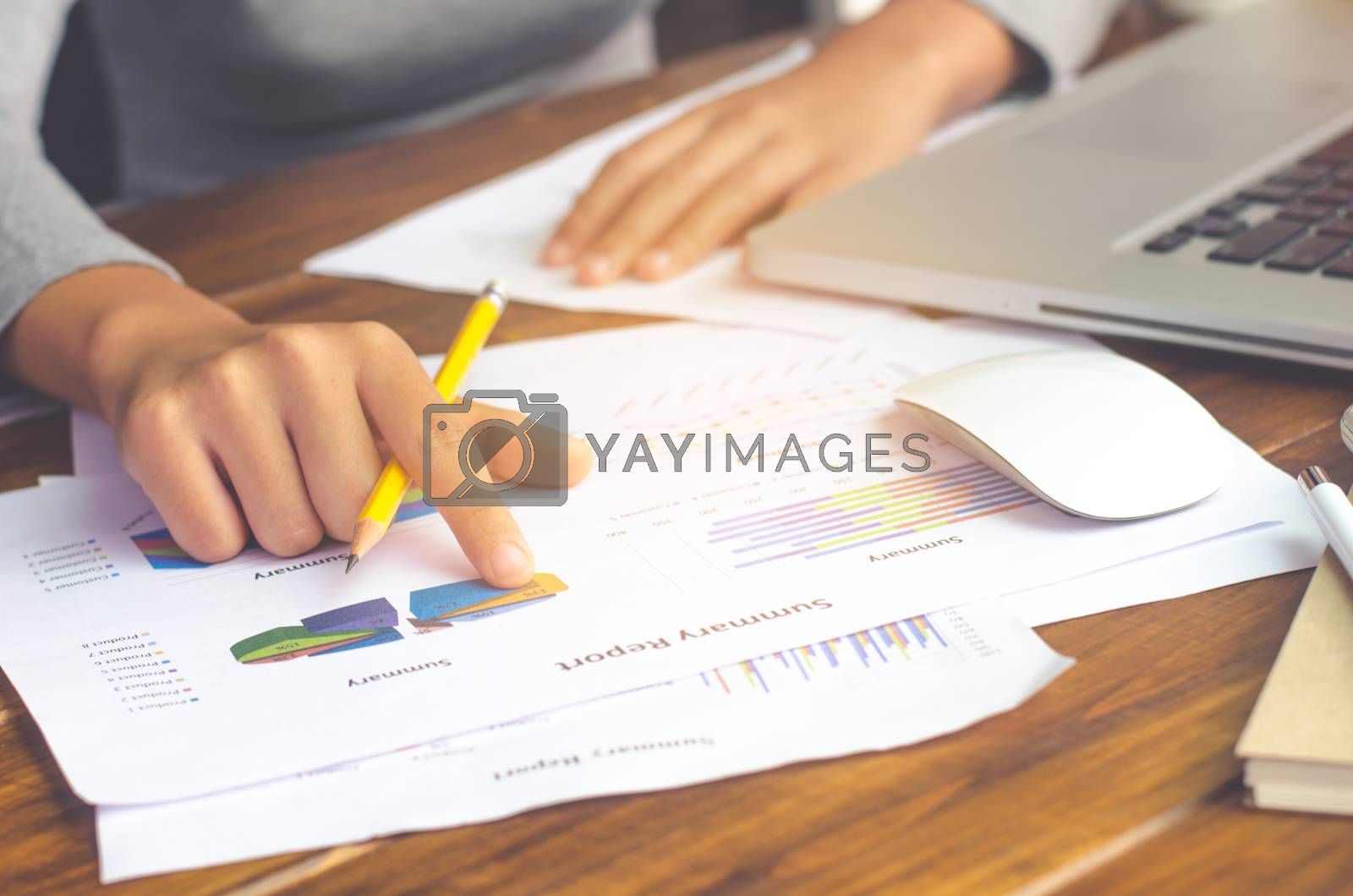 Business people using a laptop and report finance for meeting in office
