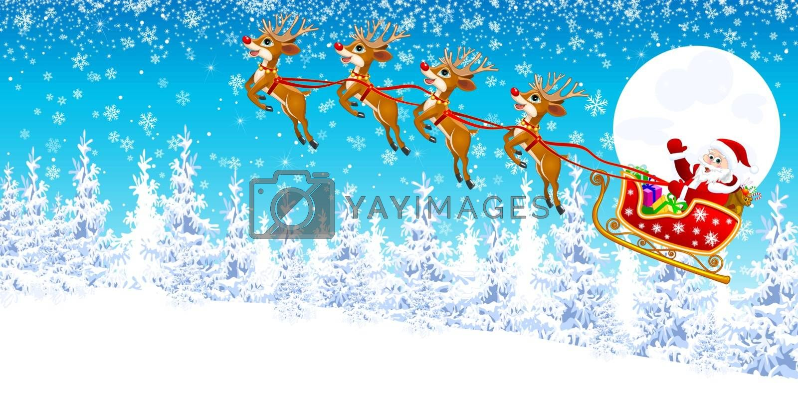 Santa in sleigh with deers on the background of the moon, the winter forest and snowflakes.