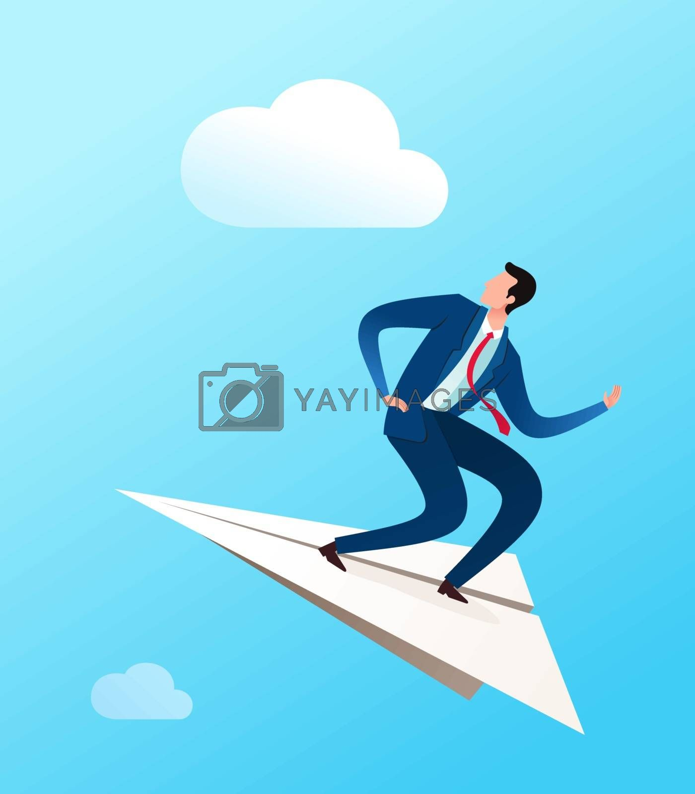 young businessman ride a paper plane