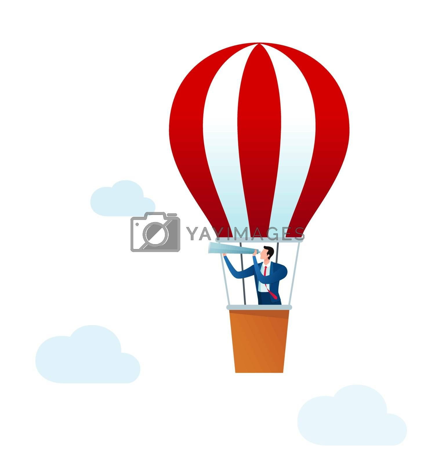businessman ride an air balloon to see more opportunity