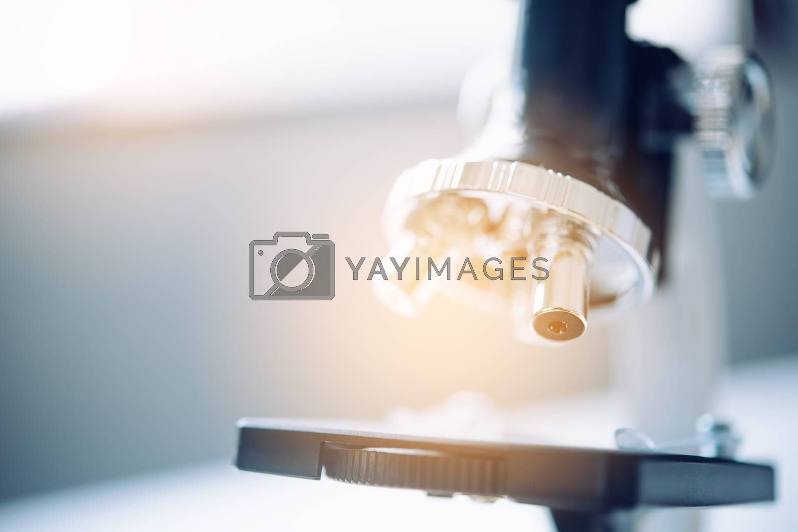 close-up Microscope for laboratory research. Photo of a medical microscope  and equipment,Scientific and healthcare research