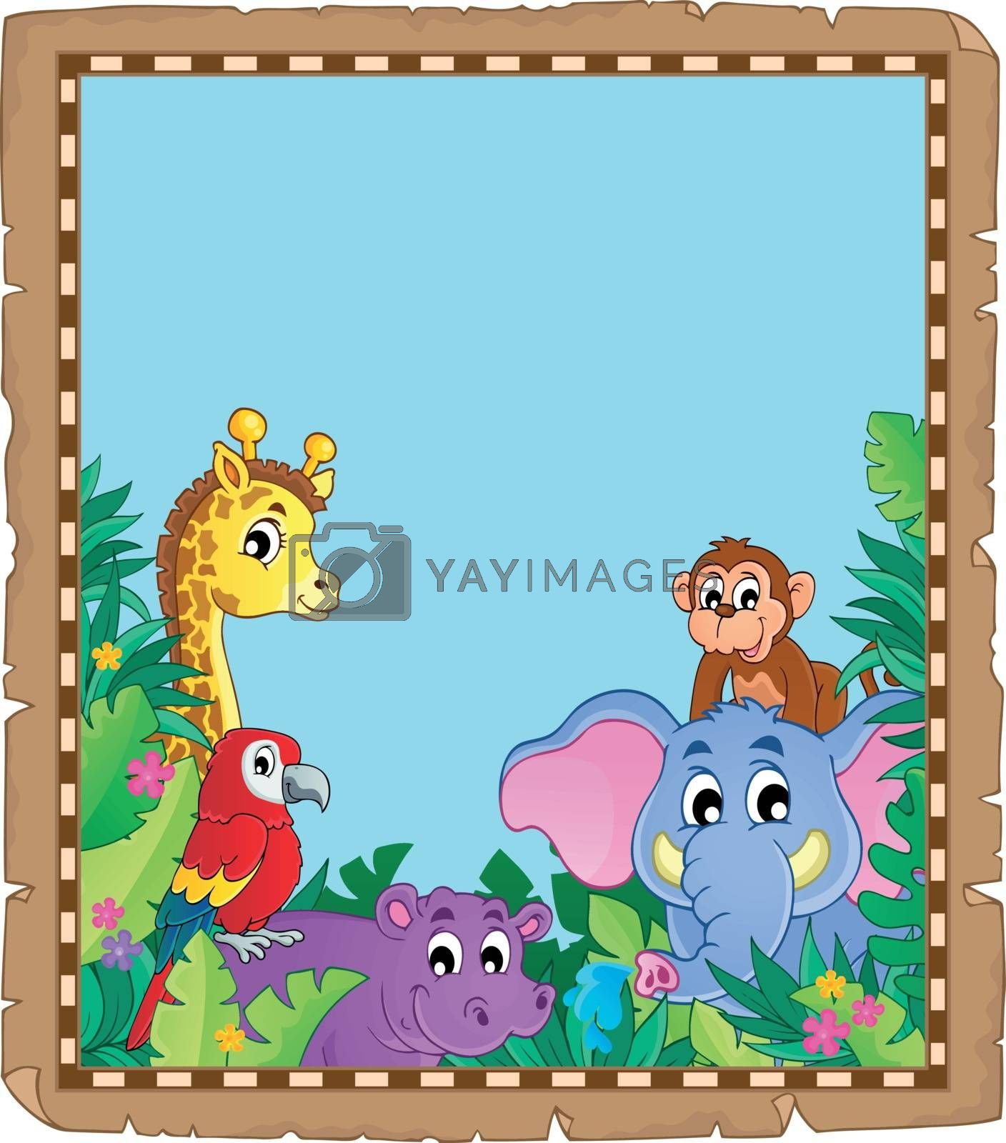 Parchment with animals in jungle - eps10 vector illustration.