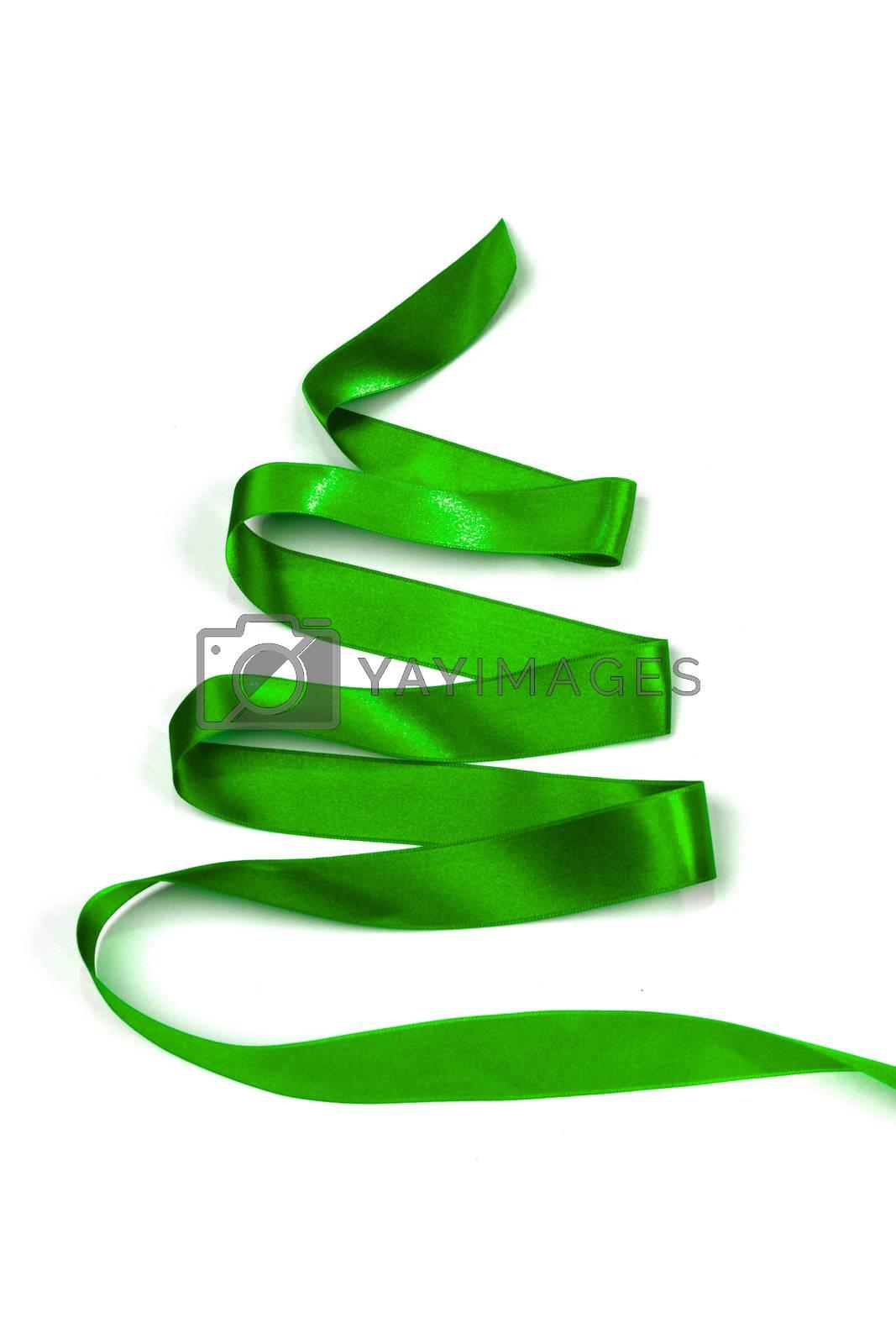 Stylized green ribbon Christmas tree isolated on white background