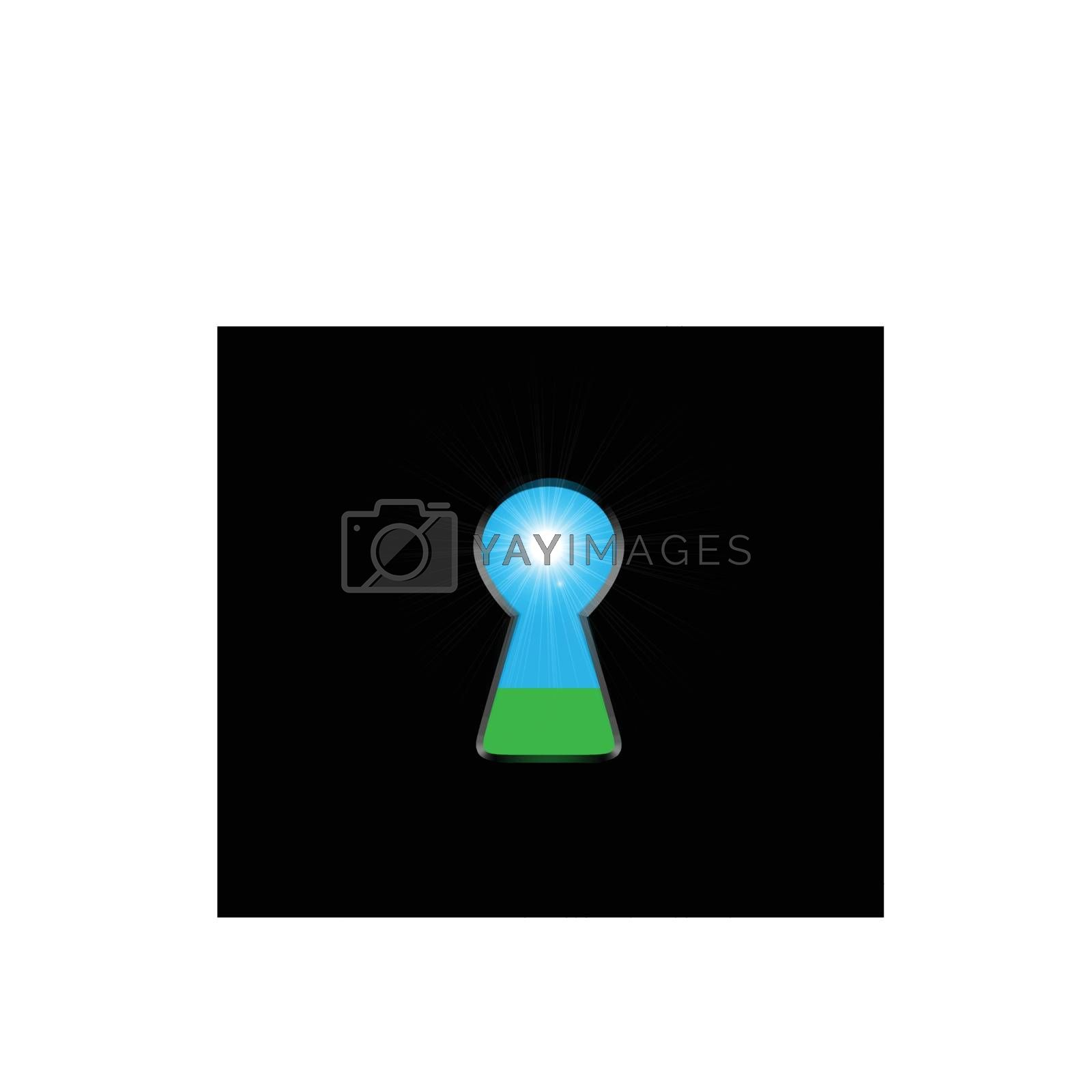 Keyhole with light inside. Ecological concept, natural green grass and sky. Vector illustration