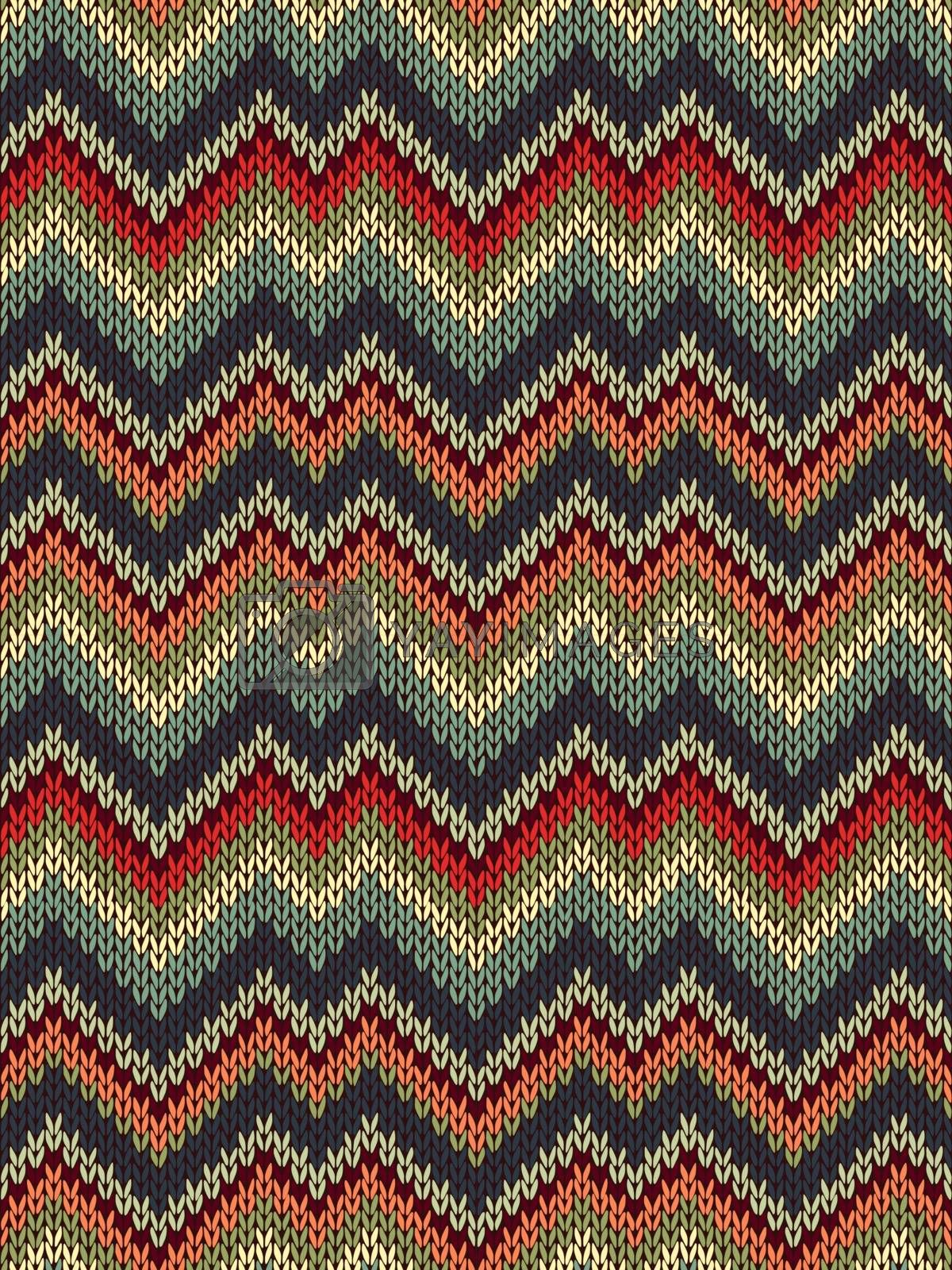 Multicolor seamless knit pattern. Zigzag embroidery texture by ESSL