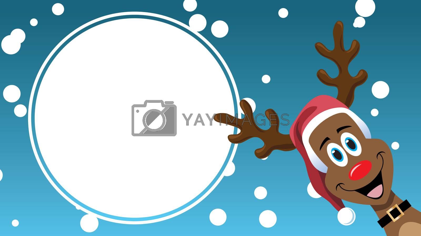 Christmas Sale cartoon reindeer design advertising template sign