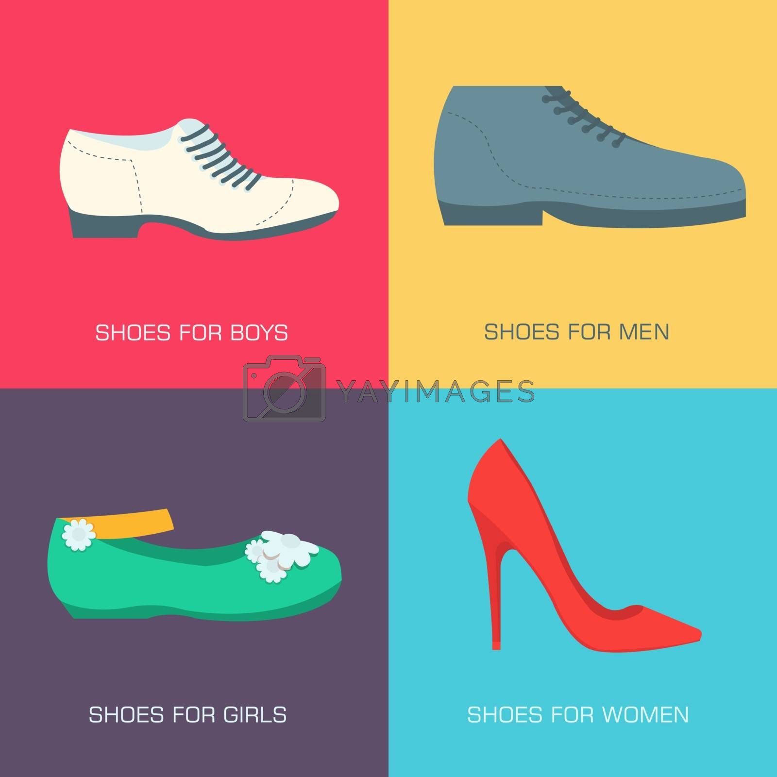 fashion shoes for family on flat style. Vector illustration concept banners. Template for website and mobile appliance .