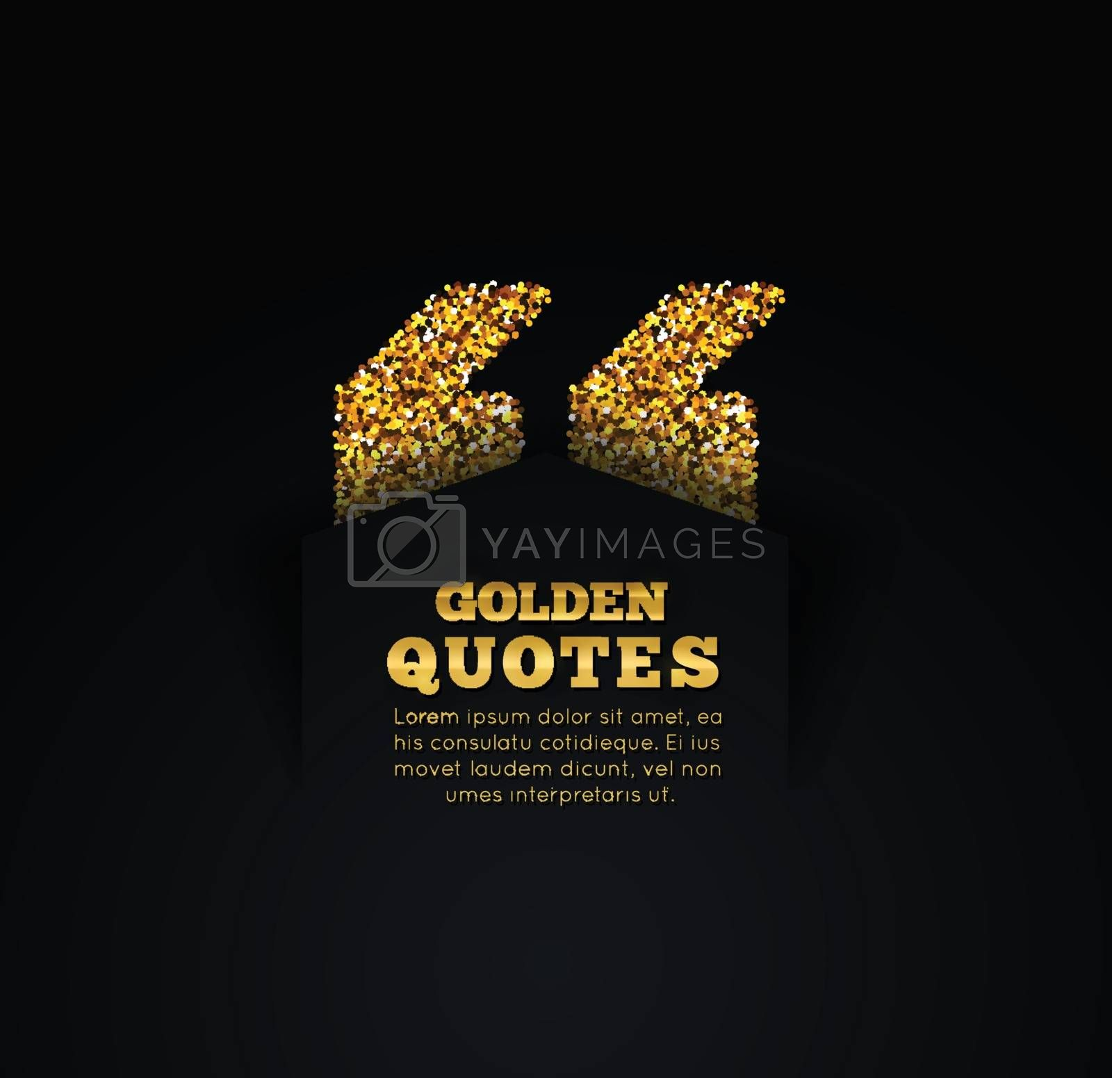 Golden quote blank template on dark background. by sermax55