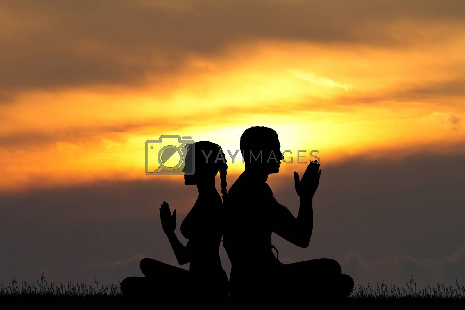 illustration of asana yoga pose for couple