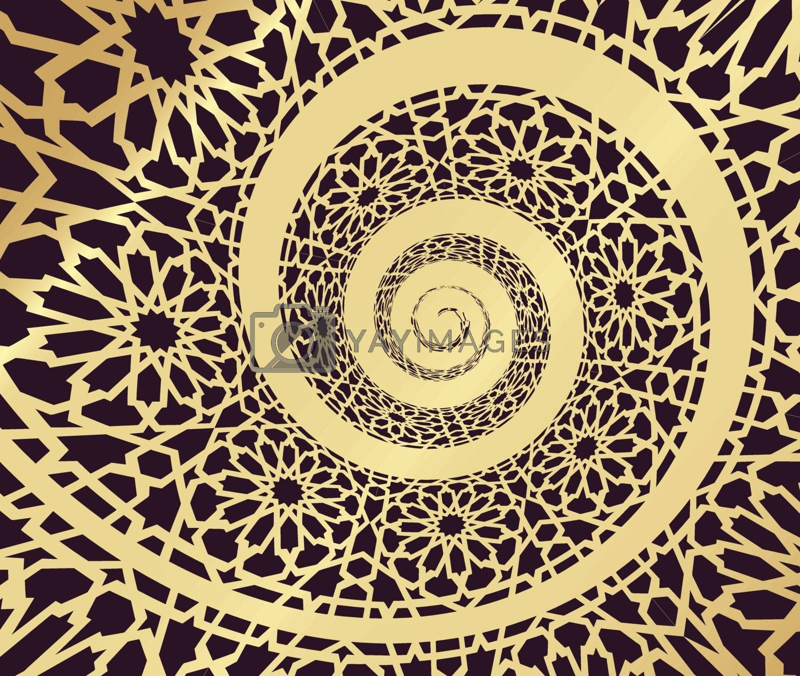 Royalty free image of Islamic pattern, swirled in 3d spiral shape by sermax55