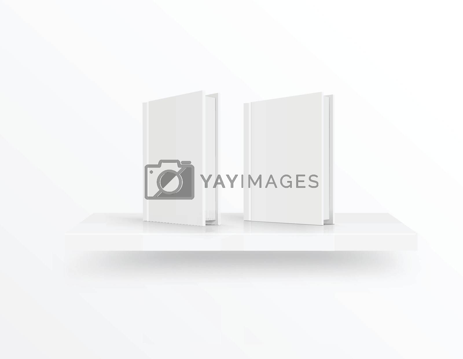 Blank book cover on bookshelf over light background. Vector illustration
