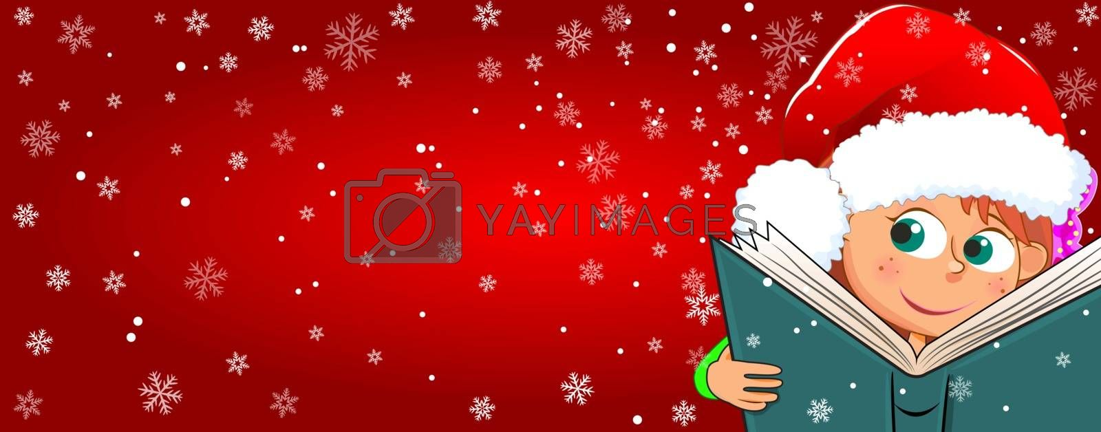 Little girl with a book on a red winter background