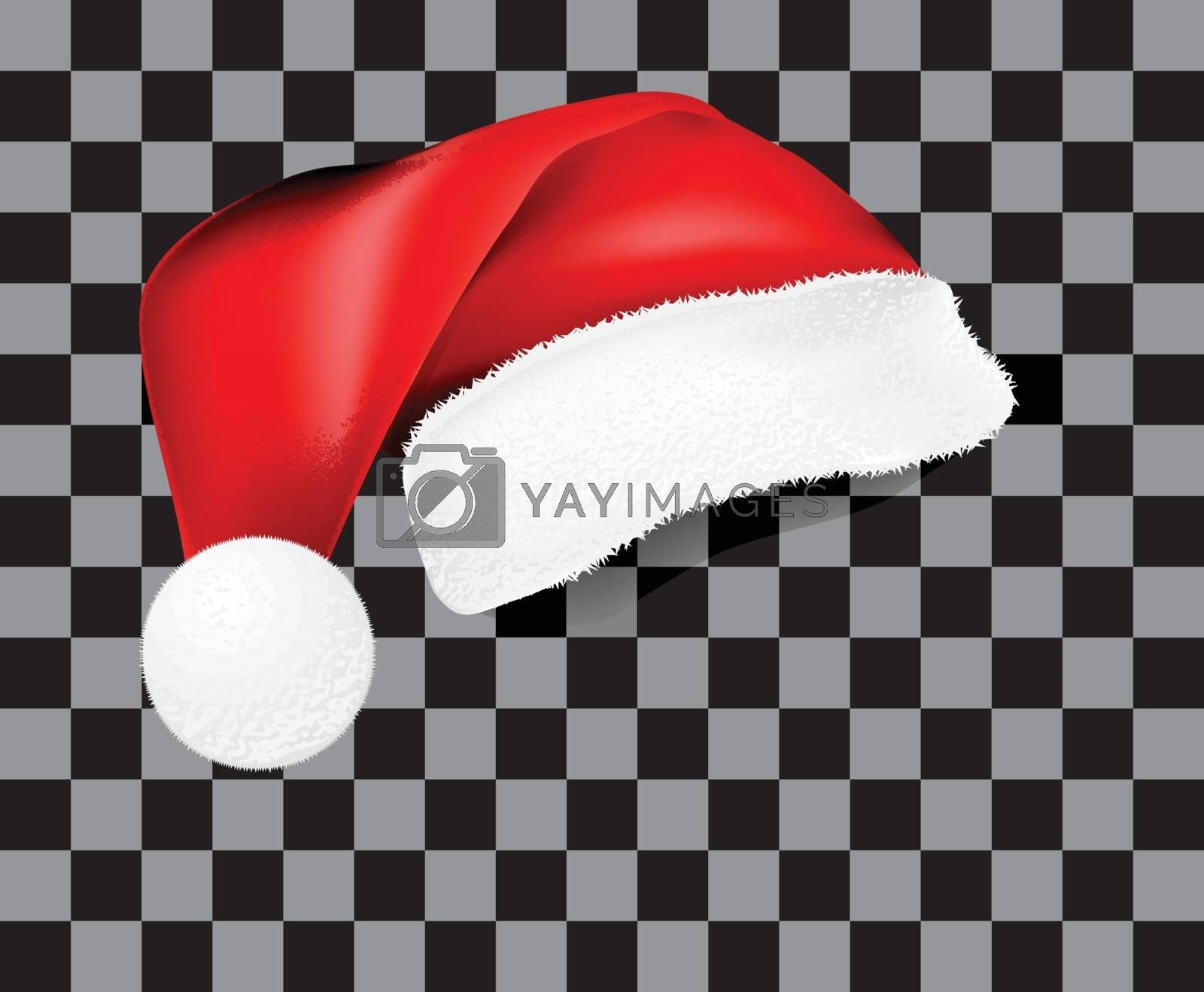 Realistic Santa Claus hat with shadow, pattern. Vector illustration on checkered transparency background