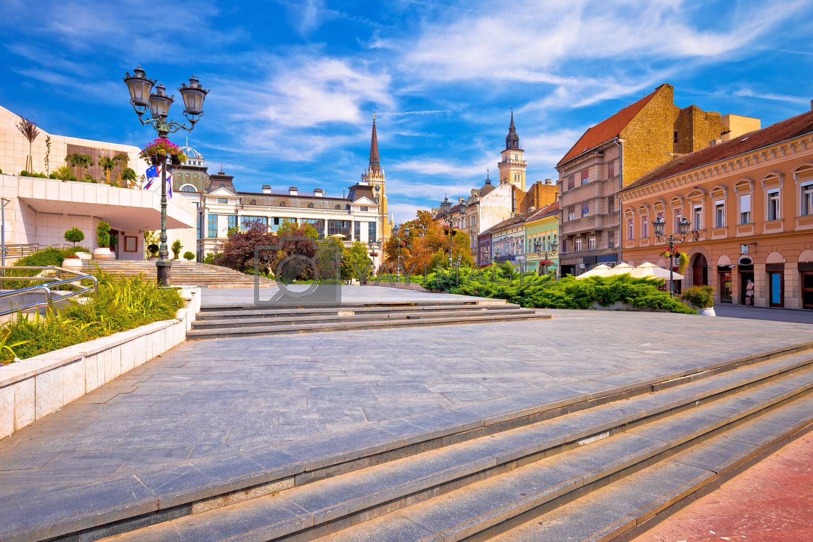 Novi Sad square and architecture street view, Vojvodina region of Serbia