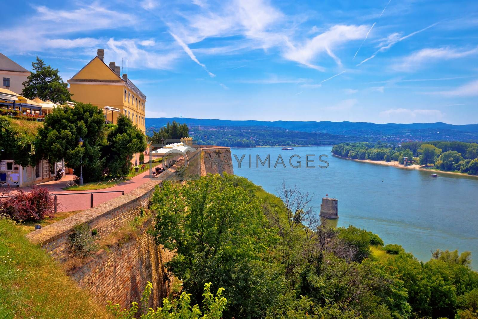 Danube river landscape view from old hillside Petrovaradin town, Novi Sad in Vojvodina region of Serbia