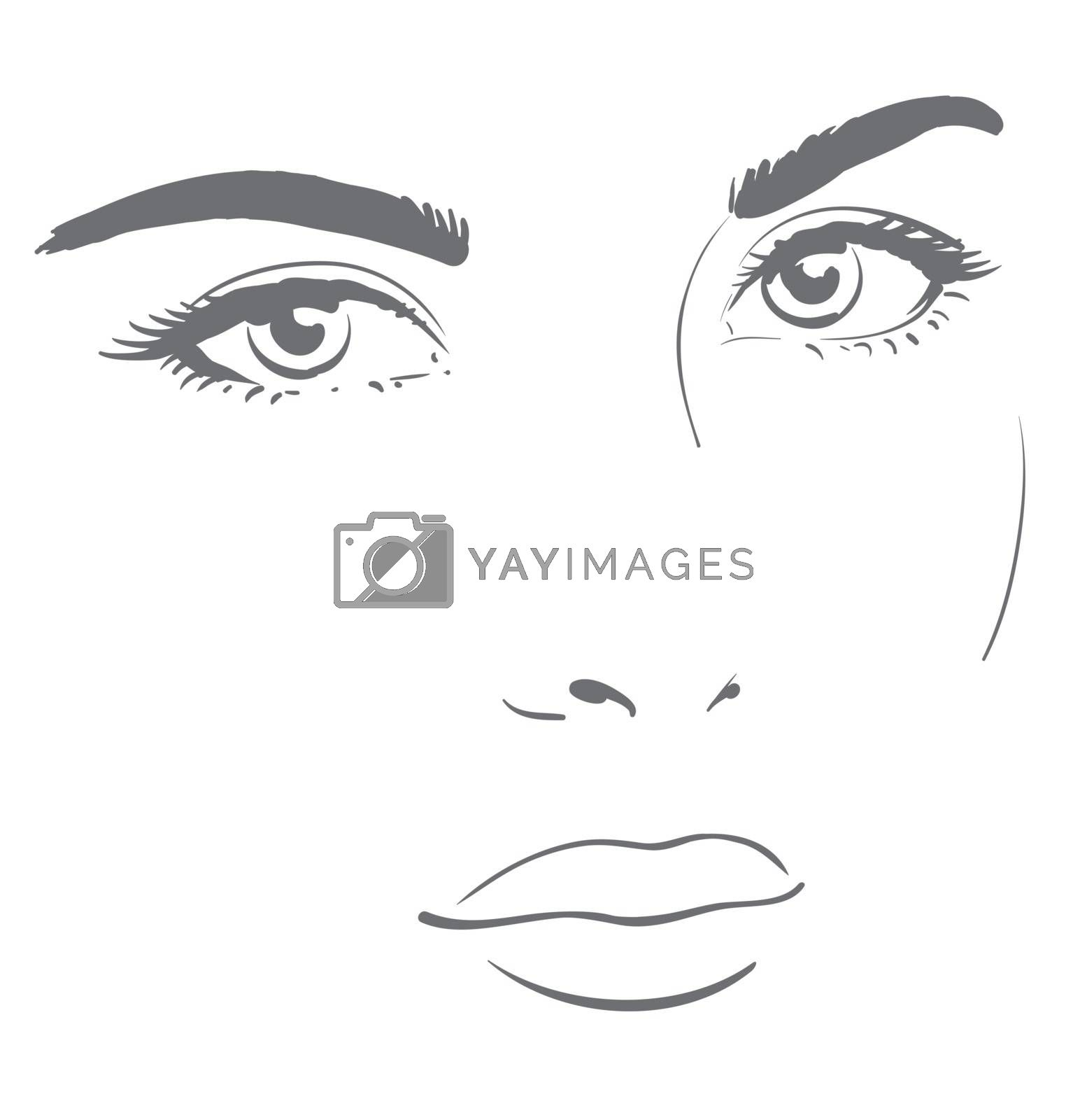 Young woman face with friendly look. Easy graphic drawing.