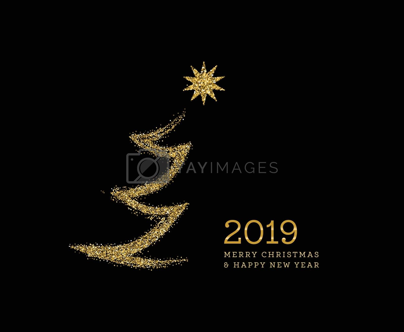 Silhouette of a Christmas tree in the form of gold sparkles on a black background. Vector by sermax55