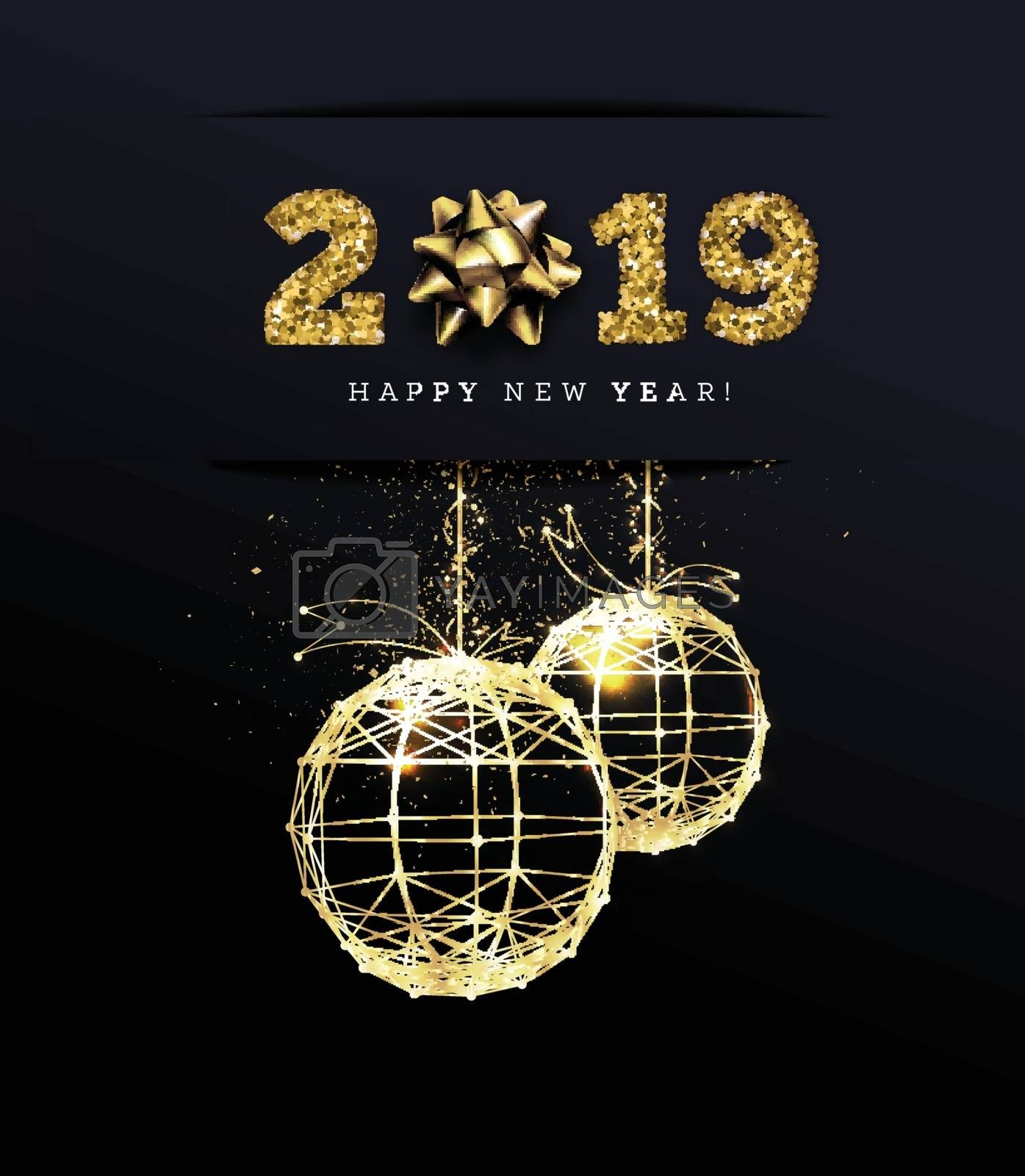 Congratulations on the 2019 happy new year. Holiday Gifts. Vector illustration with golden ribbons and christmas balls