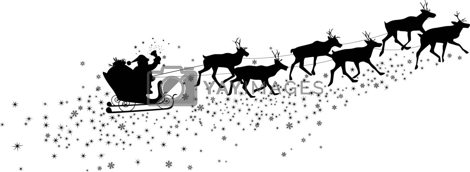 Silhouette of Santa Claus and deer. Snowflakes and asterisks.