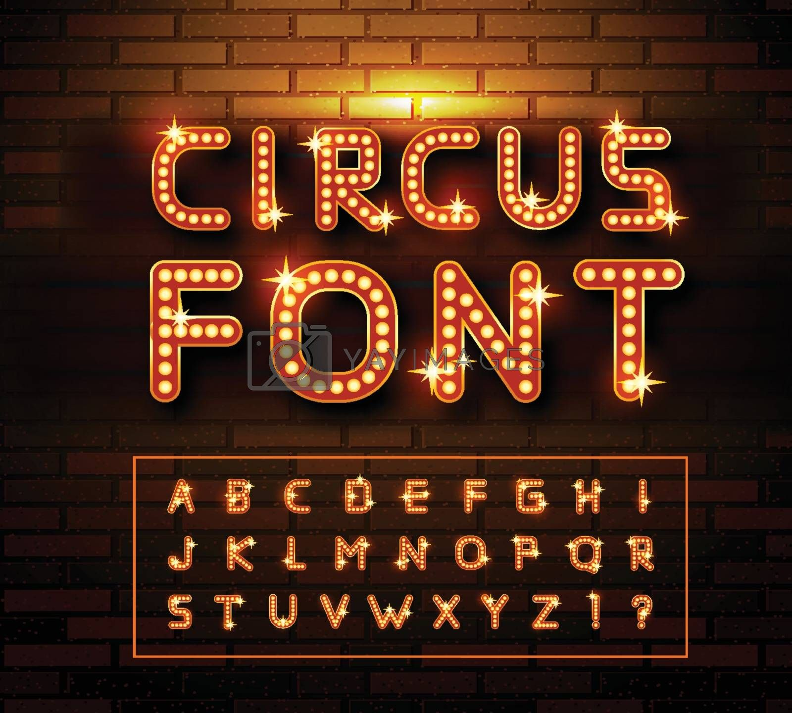 Circus marquee fonts on brick wall background. Vector illustration